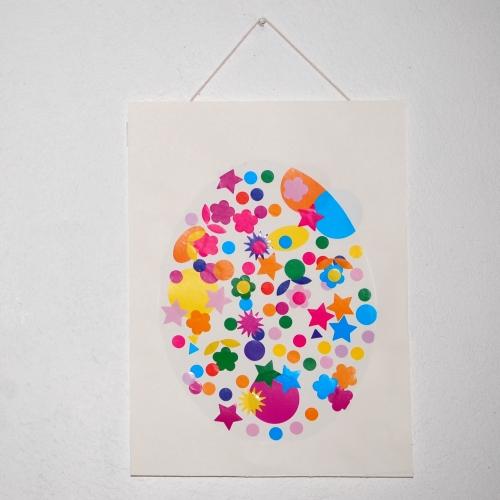 Loisirs créatifs - Tableau de Pâques pochoir inversé